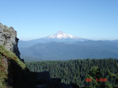 Mt. Hood 22 miles away as seen from Larch Mountain